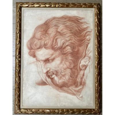 Sanguine de Nicolas-René Jollain, Paris (1732 - 1804), étude de Dieu le Père d'après Michel-Ange