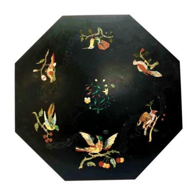 English Mid-19th Century Octagonal Black Marble, Hard Stones And Pietre Dure Inlaid Table Top