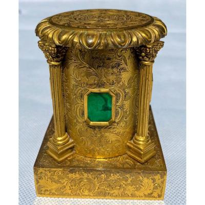 Russian 19th Century Gilt Bronze And Malachite Inkwell
