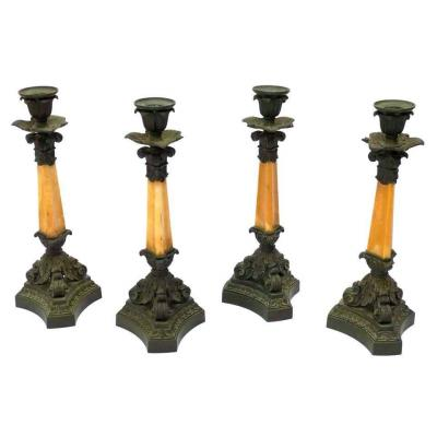 Four 19th Century Patinated Bronze And Yellow Sienna Marble Candlesticks By Denière, Paris