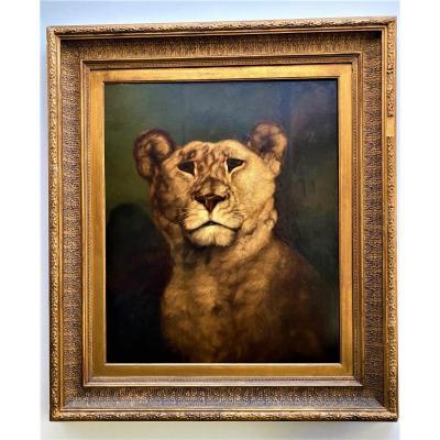 """Charles Edward Brittan (1837-1888) """" Lionne"""", huile sur toile signée et datée 1868"""