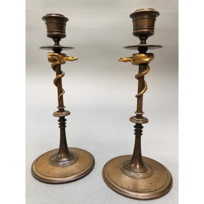 Pair Of 19th Candlesticks In Gilt And Patinated Bronze With Snakes By Ferdinand Barbedienne