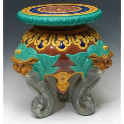 English Early 20th Century Majolica Garden Seat, In The Taste Of Minton Or Brown Westhead Moore & Co