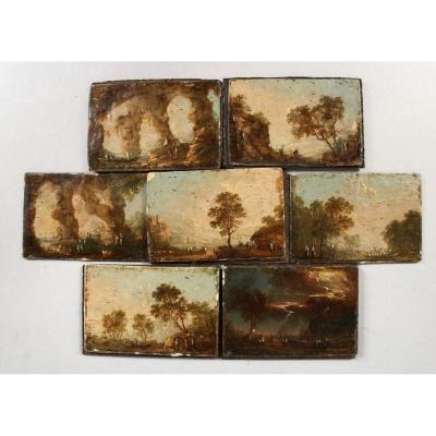 Seven Small Dutch Or German 18th Century Oil On Panels