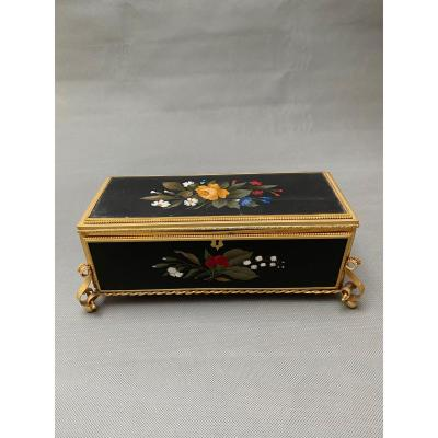 French 19th Century Gilt Bronze And Pietre Dure Mounted Box