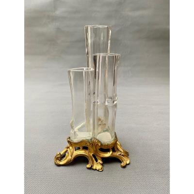 Vase en bronze doré et verre Japonisme du XIXe siècle par Millet, Paris