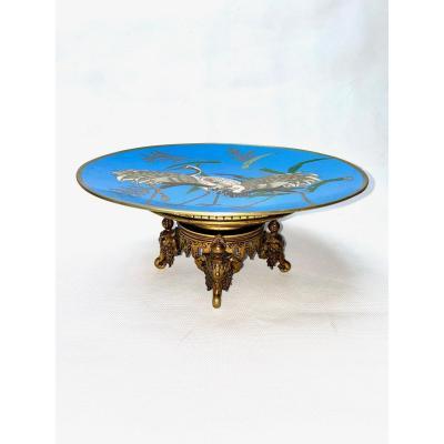 Enamel Dish With Bronze Mounts