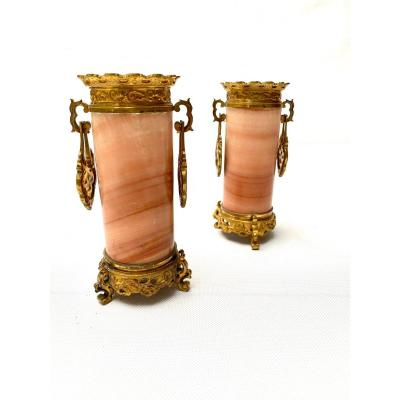 Pair Of French 19th Century Gilt-bronze Mounted Onyx Vases Attributed To G. Viot