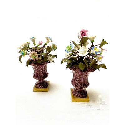 "Pair Of Continental Gilt-bronze Mounted ""porphyry"" Porcelain Vases With Flowers"