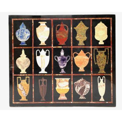 Panneau De Marbre Italien En Pierres Dures Pietre Dure De Vases Classiques