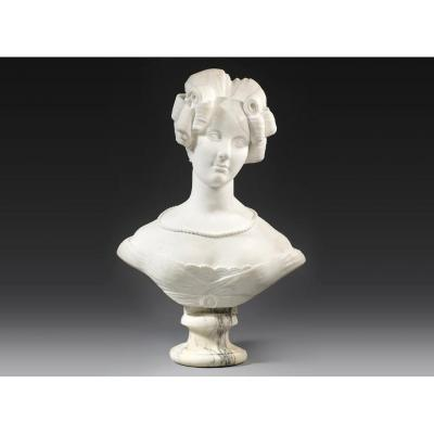 White Carrara Marble Bust Of Queen Amalie Augustus Of Saxony, Germany, Circa. 1820