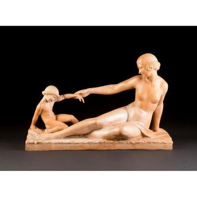 """Marcel-andré Bouraine (france, 1886 - 1948), Terracotta """"mother And Child"""""""