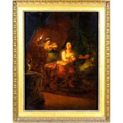 Johann Jakob Dorner (1741–1813), Huile sur panneau de bois, « La mort de Cléopâtre »