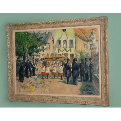 """Richard Bloos (1878-1957) Huile sur toile  """"Célébration de la Fête du Saint-Sacrement"""""""