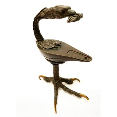 Lampe à Huile 19e Siècle En Bronze Sur Socle En Forme De Patte D'aigle