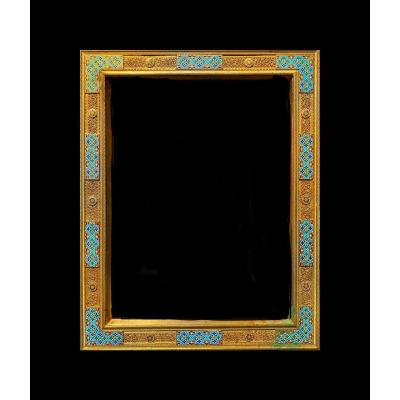 Cadre Orientaliste 19ème En Bronze Doré Et émail Polychrome