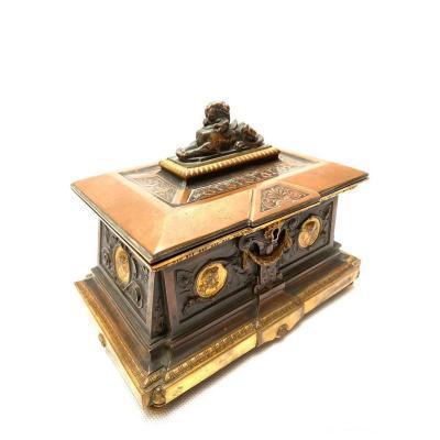 Boîte à Bijoux En Bronze à Trois Patines Du XIXe Siècle Par Oudry, Paris