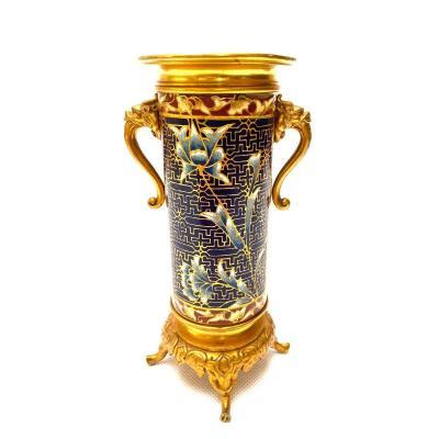 Attribué à Barbedienne, Vase En Bronze Doré Et émail Champlevé Du Milieu Du XIXe Siècle