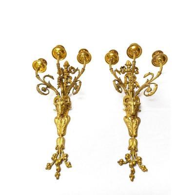 Paire d'Appliques XIXème En Bronze Doré à Têtes De Bélier