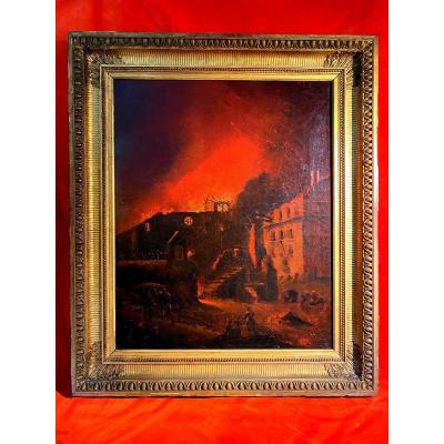"""Rare tableau 19eme d'un """"Incendie"""""""