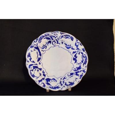 Assiette Décor De Chasse Bleu Et Blanc