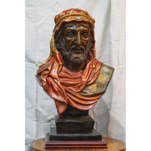 Buste Bronze Polychrome Orientaliste.