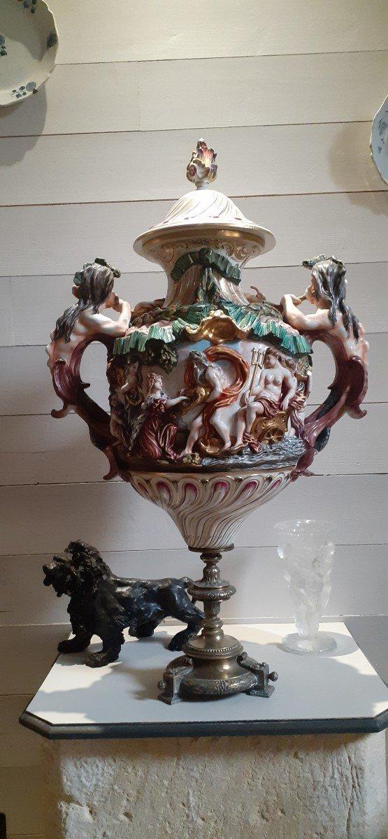 Grande Amphore Couverte Capodimonté XIX Pied Bronze-photo-3