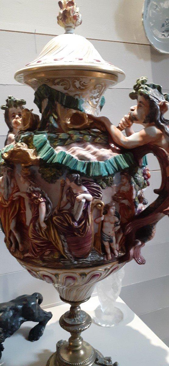 Grande Amphore Couverte Capodimonté XIX Pied Bronze-photo-4