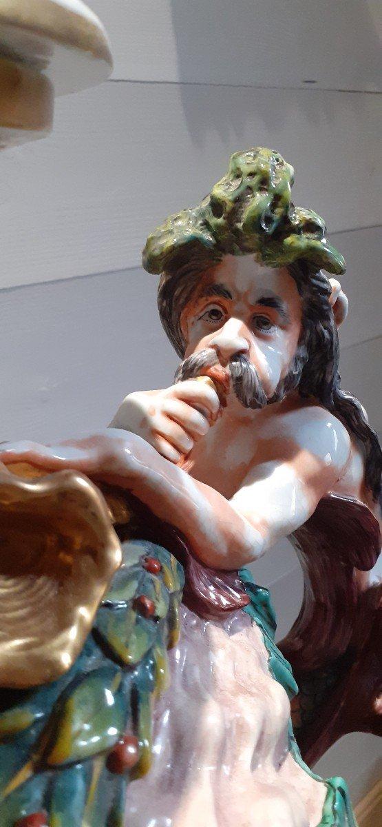 Grande Amphore Couverte Capodimonté XIX Pied Bronze-photo-5
