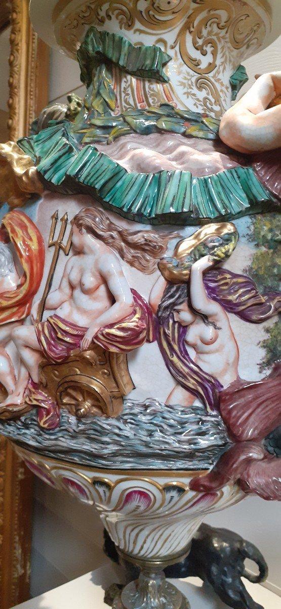 Grande Amphore Couverte Capodimonté XIX Pied Bronze-photo-6
