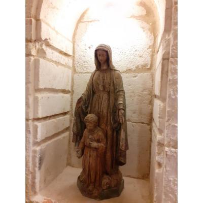 Vierge à l'Enfant En Terre Cuite