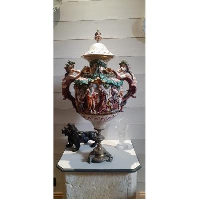 Grande Amphore Couverte Capodimonté XIX Pied Bronze