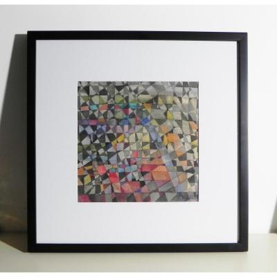 Tableau Abstrait, Gouache Sur Papier Signée Et Datée 1964