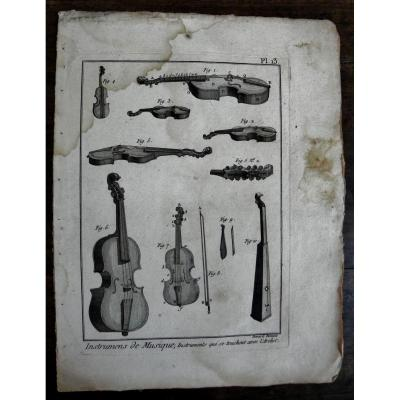Gravures d'Instruments De Musique De l'Encyclopédie Diderot Et d'Alembert 18ème Siècle