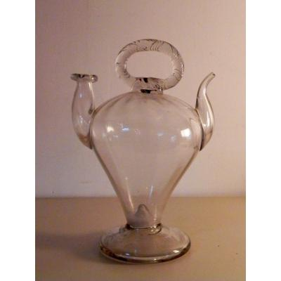 Holy Water Cantir In Blown Glass 19th Century