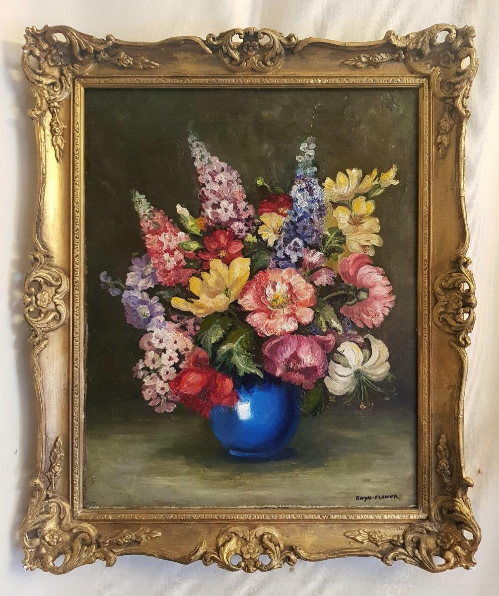 Huile Sur Toile - Gwyn Flower - Nature Morte - 20ème
