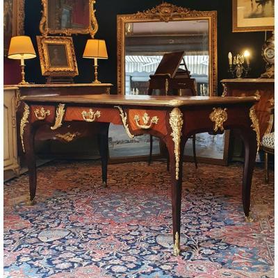 Exceptionnel Bureau Plat Estampillé François Linke - Régence - Circa 1890 - Bois de Violette & Satiné & Bronze Dorée Ciselées