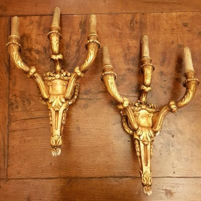 Pair Of Italian Louis XVI Sconces - Late 18th Century - Golden Wood