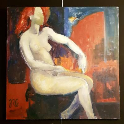 Oil On Canvas Contemporary - Nude - 100 X 100 - Rg - 20th