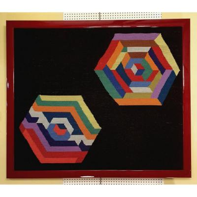 Framed Handmade Tapestry - Geometric Shapes - After Victor Vasarely