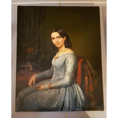 Oil On Canvas - Pierre Bonirote - Portrait Of Young Woman - Lyon 1844