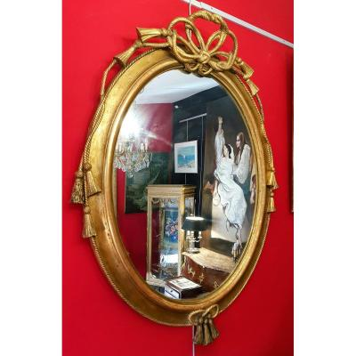 Italian Mirror Louis XVI - Trimmings - 19th C. - Golden Stucco Wood