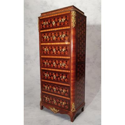 Right Secretary Napoleon III Period - Cubic Marquetry - Rosewood & Rosewood - 19th
