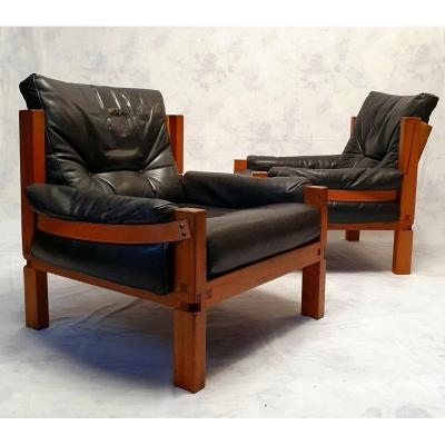 Pair Of S15 Armchairs By Pierre Chapo - Brutalist - Elm & Leather - Ca 1960