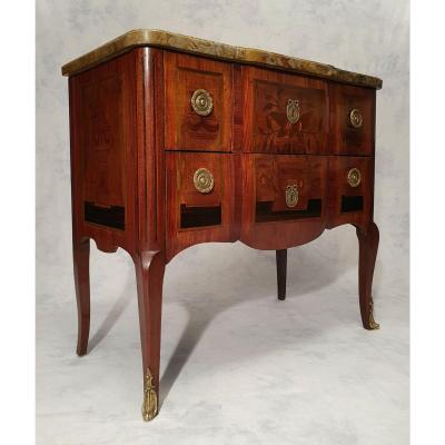 Transition Style Commode - Floral Marquetry - Rosewood - 19th