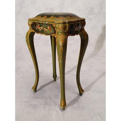 Table Coffret Style Louis XV - Vénitien - Bois Peint - 19ème