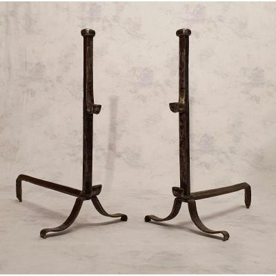 Paire De Chenets Style Louis XIII - Fer Forgé - 19ème