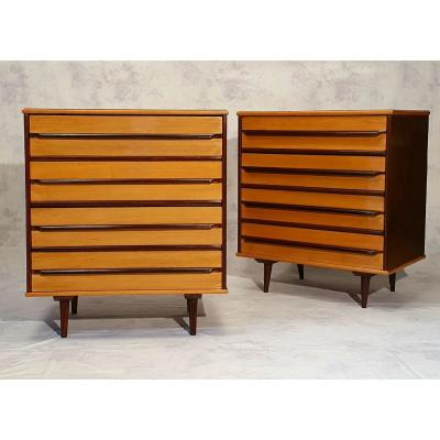 Pair Of Brazilian High Dressers - Móveis Cimo - Imbuia - Ca 1950