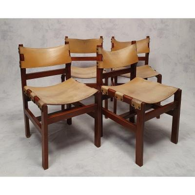Suite Of 4 Brutalist Chairs - Elm & Leather - Ca 1960