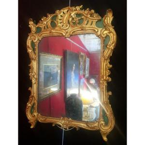 Miroir Époque Louis XV À Décor Rocaille – Bois Doré Laqué Vert - 18ème